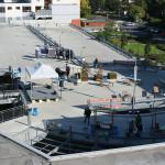 Überblick über den Aufbau auf dem Parkdeck um ca. 9:45 Uhr. Bild: Ines Fischer