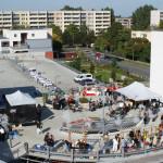 Kurz vor Beginn unserer Veranstaltung ein Überblick über das obere Parkdeck des Neumann Forums. Foto: Ines Fischer